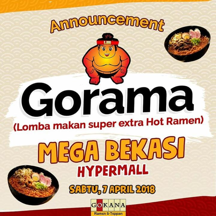 Lomba Makan Super Extra Hot Ramen di Gokana Resto Mega Bekasi HyperMall Gratis 7 April 2018