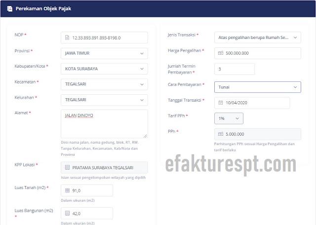 e-PHTB Validasi SSP PPh Online