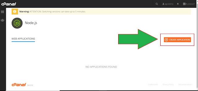 lokasi tombol create nodejs di cPanel