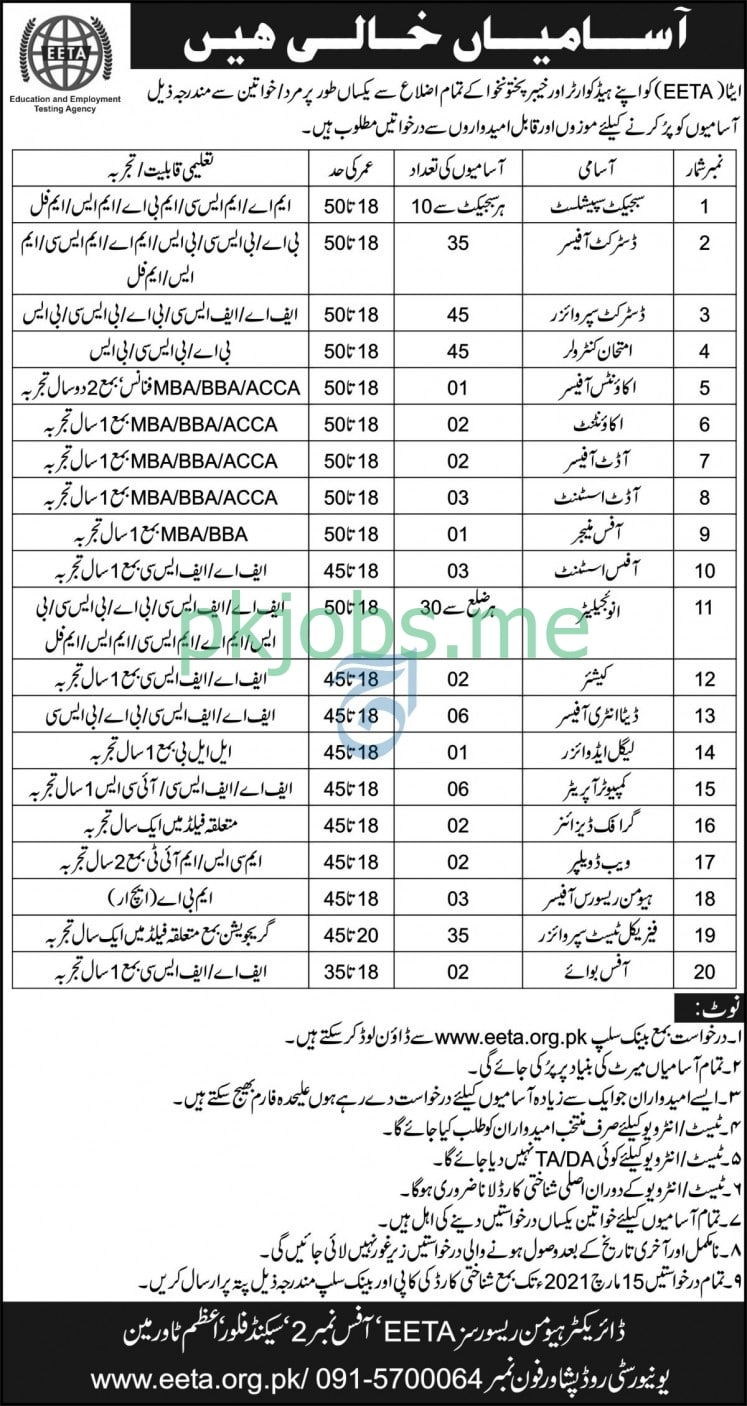 Latest Education & Employment Testing Agency Management Posts 2021