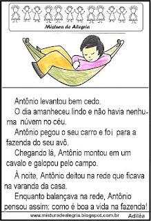 Leitura Antônio para 1º ano