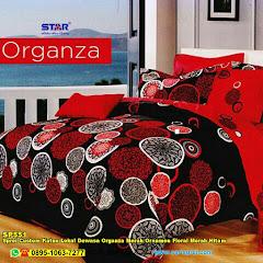 Sprei Custom Katun Lokal Dewasa Organza Merah Ornamen Floral Merah Hitam