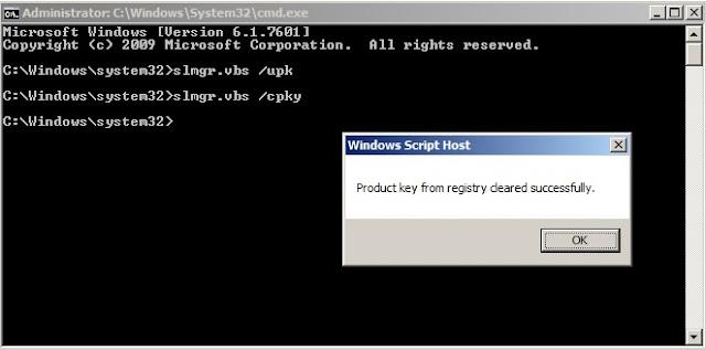 Xóa thông tin bản quyền Windows7 trong registry