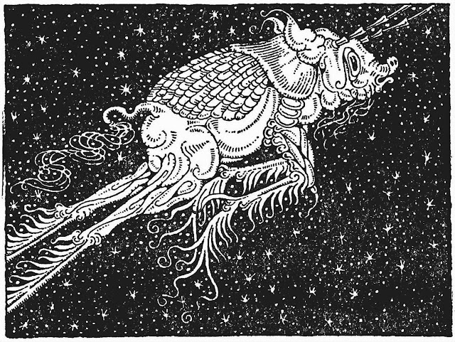 a Dugold Stewart Walker illustration of a strange creature in space