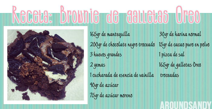 Receta brownie de oreo