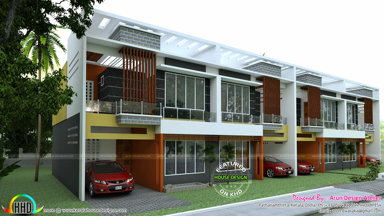 Row house plan 1550 sq ft kerala home design and floor plans for Home by design