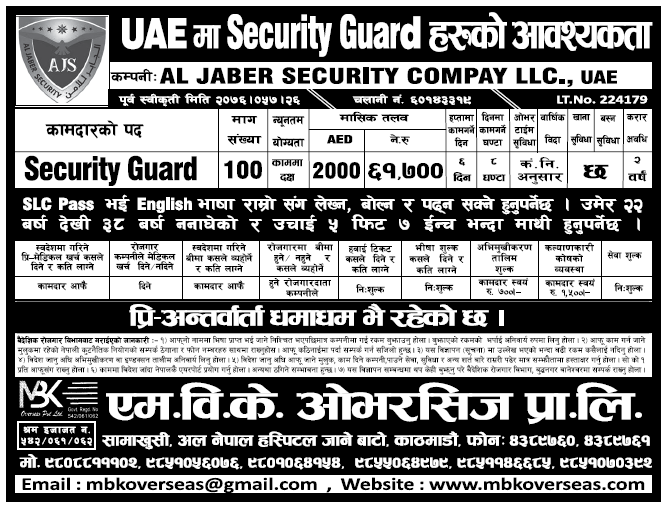 Jobs in UAE for Nepali, Salary Rs 61,700
