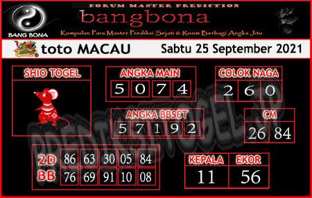 Prediksi Bangbona Toto Macau Sabtu 25 September 2021