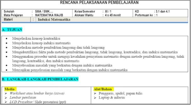 Download RPP 1 Lembar Matematika SMA Kelas 11 Semester 1