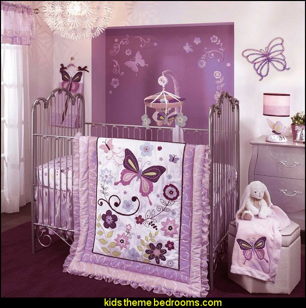 Lambs & Ivy Bedding Sheet, Butterfly Lane baby girls garden nursery bedding
