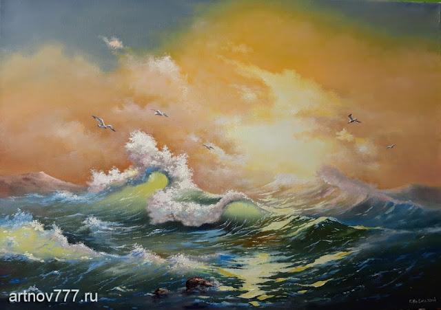 Волна и чайки, 50х70см.
