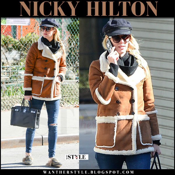 Nicky Hilton in brown shearling jacket, skinny jeans and fur studded loafers gucci prinectown what she wore march 2017