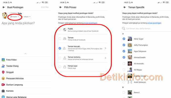 Menu ubah privasi status FB