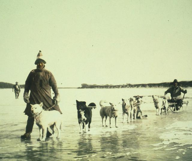 Những người đàn ông người Goldi bên cạnh chiếc xe chó kéo trên con sông Amur đóng băng ở đông nam nước Nga vào năm 1895.