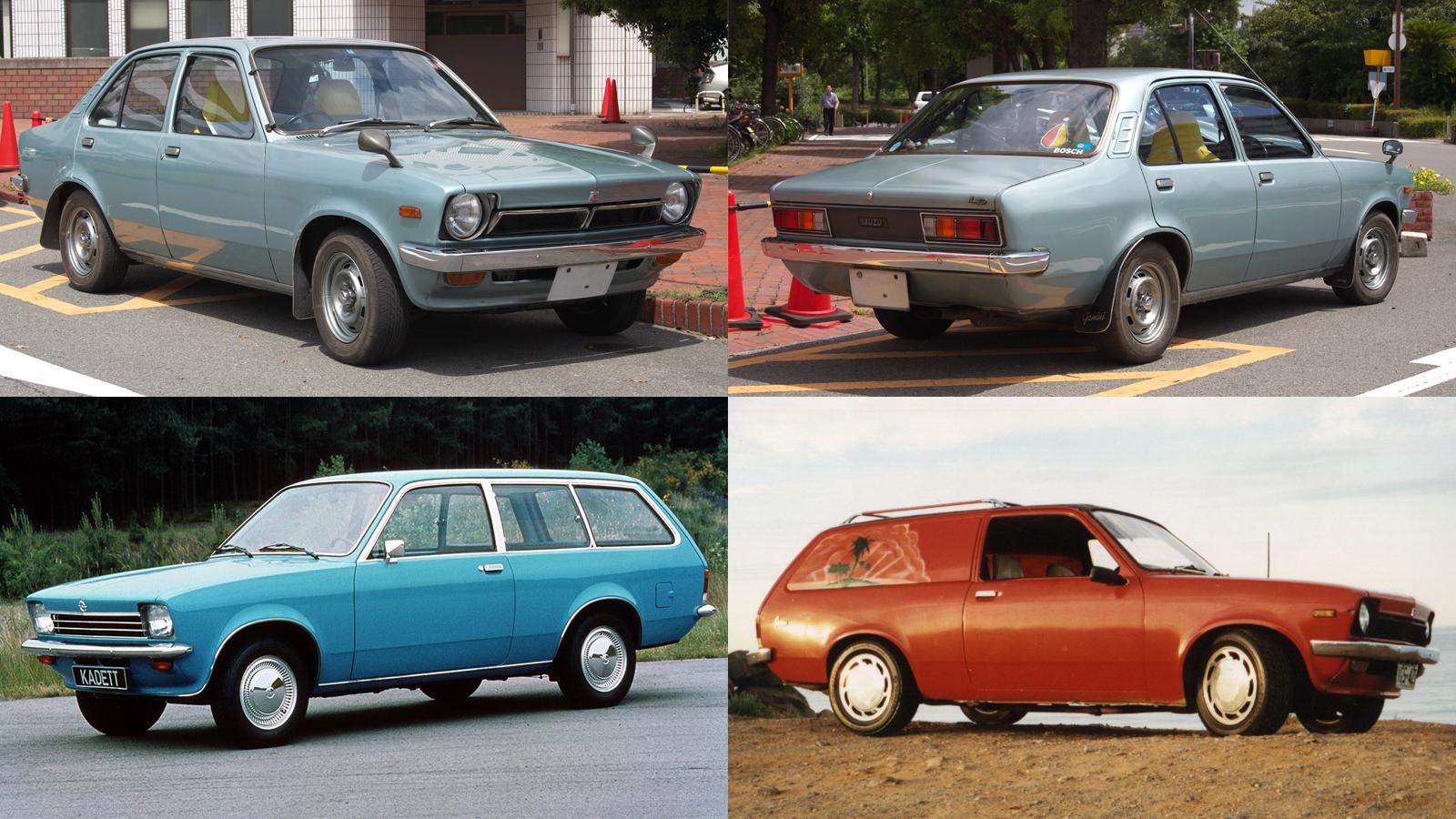 Foto mostrando o Isuzu/Holden Gemini e Opel Kadett Caravan