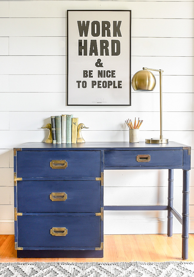Coastal Blue painted campaign style desk
