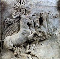 A relief from the Temple of Athena at Ilion, shows Jesus Christ or Helius riding his horses to sky
