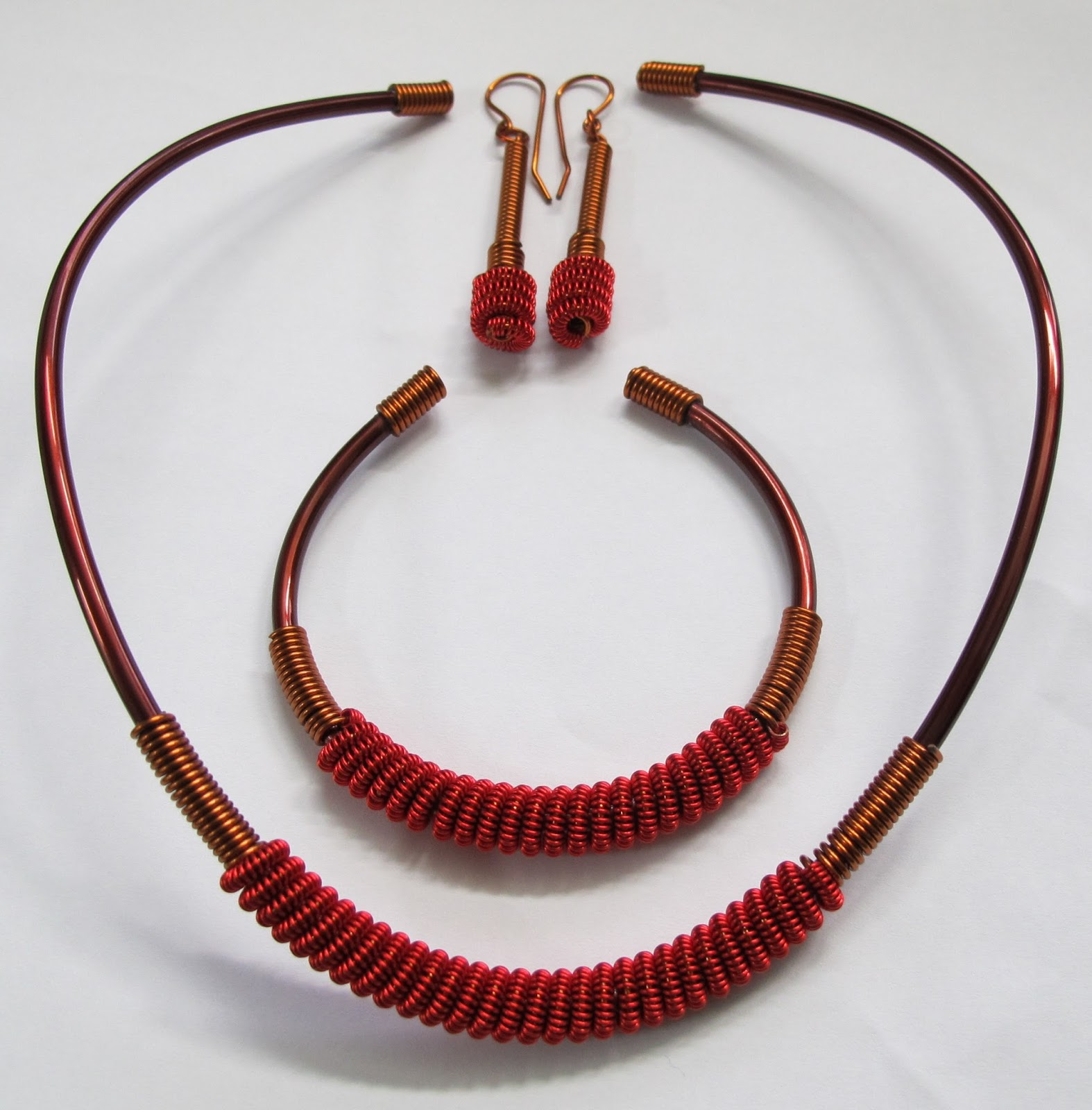 Wire jewelry—Copper and red wire necklace I made during a class.