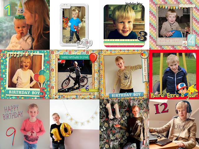 Verjaardagsfoto's jaar 1 tot met 12