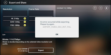 An error occurred while exporting. Please try again. EXPORT_VIDEO_DEC_INIT_FAIL