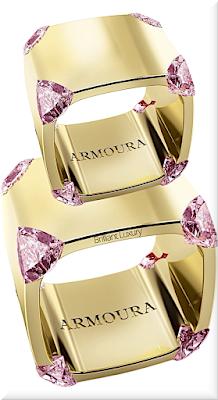 ♦Armoura Trilliant ring in 18k yellow gold with pink diamonds #jewelry #armoura #brilliantluxury
