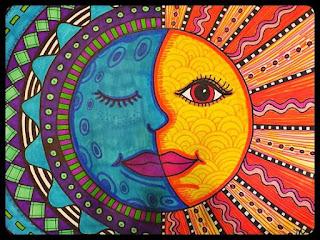 dibujo luna y sol colores calidos y frios