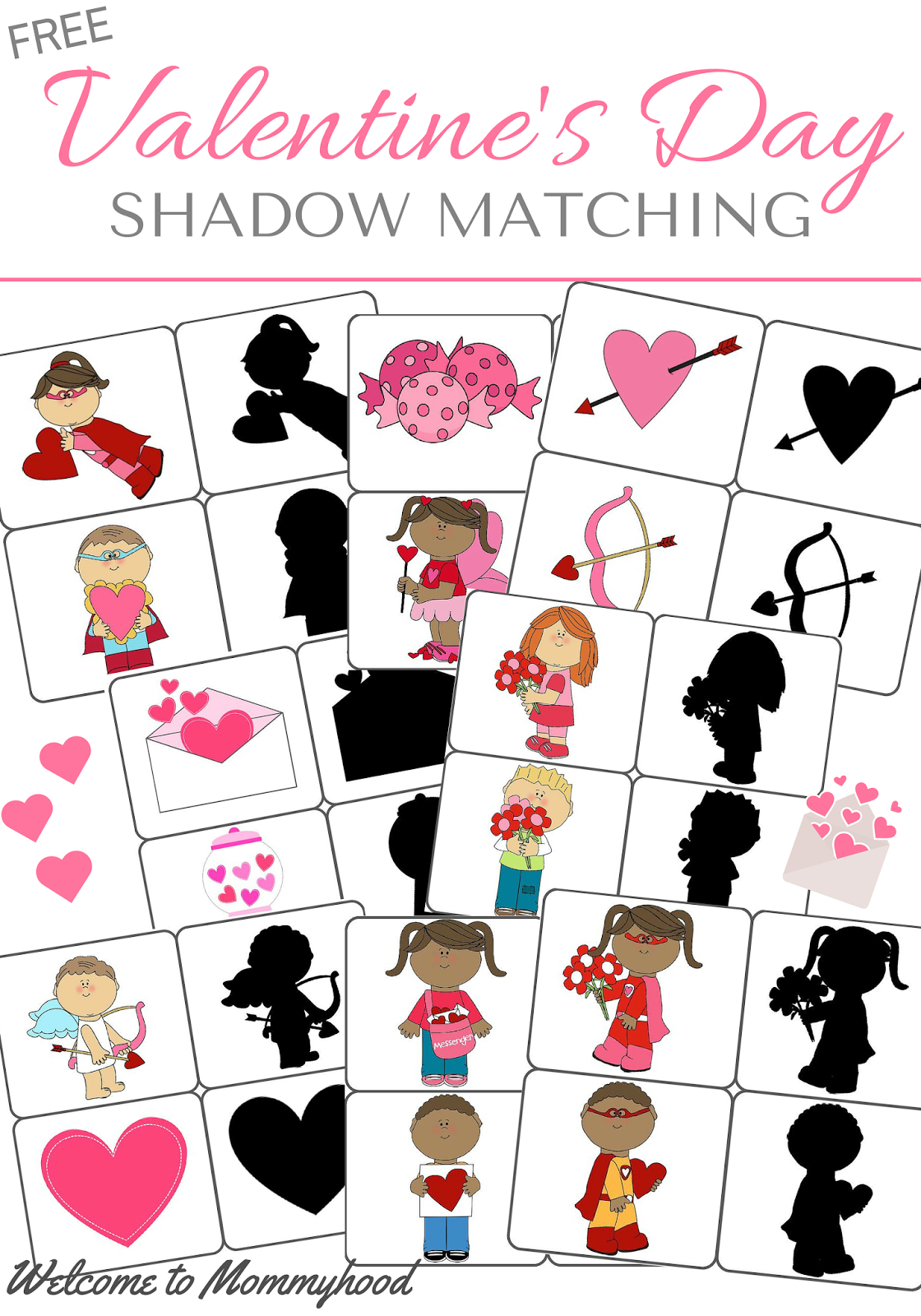 Welcome To Mommyhood Valentine S Day Shadow Matching Cards