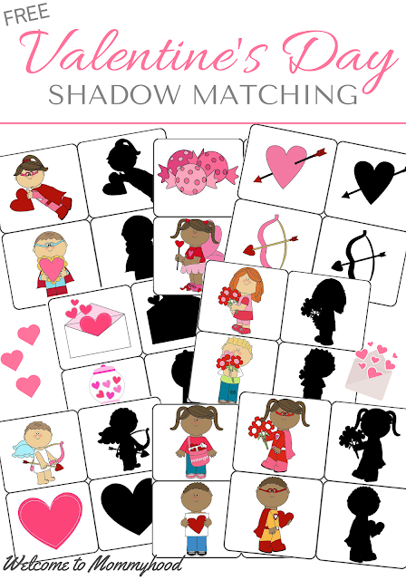 Free Valentine's Day Printables:  cute shadow matching printable by Welcome to Mommyhood #valentinesdayactivities, #preschoolactivities, #montessori, #freeprintables