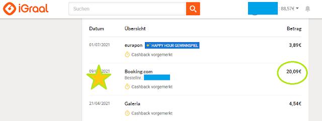 Мной получен кешбек 20 евро  за бронирование отеля на сайте Booking.com