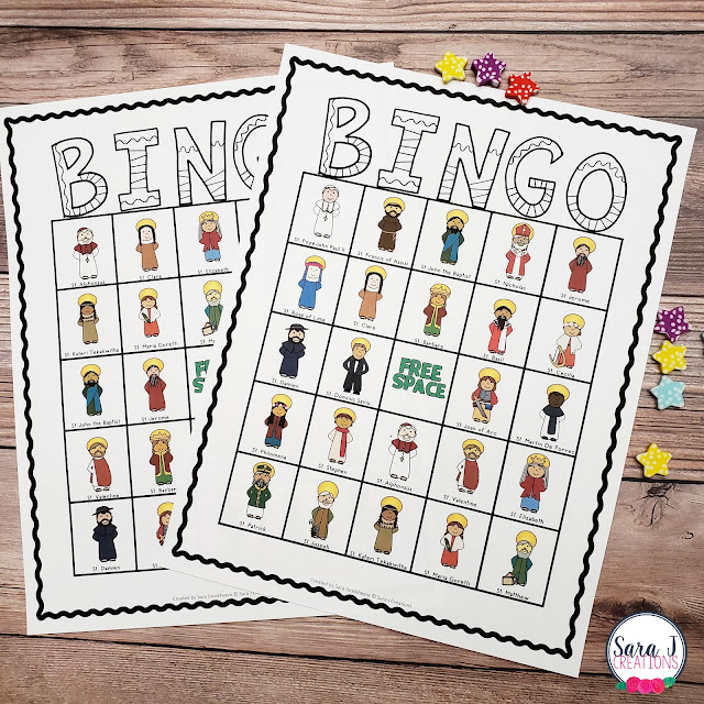 Play Saint Bingo during your on your Catholic zoom call with kids.