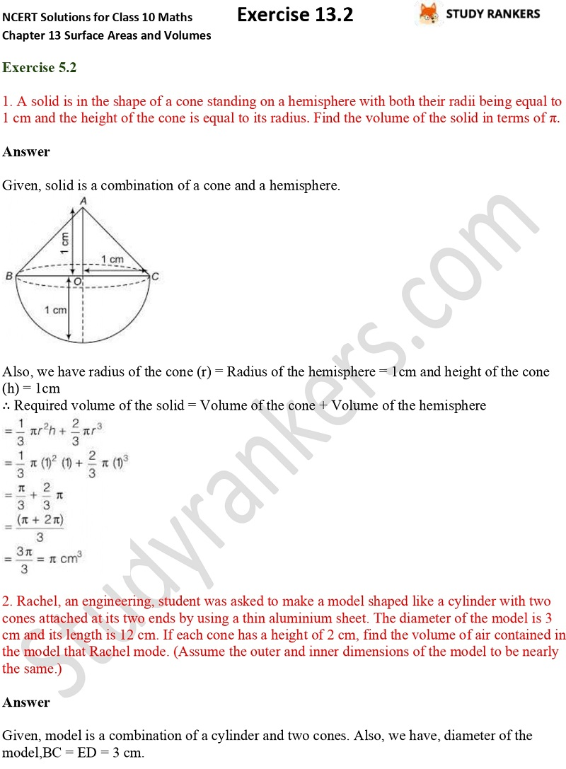 NCERT Solutions for Class 10 Maths Chapter 13 Surface Areas and Volumes Exercise 13.2 Part 1