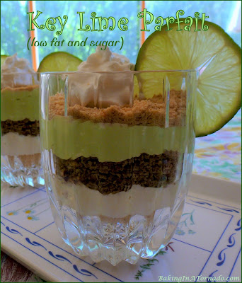 Key Lime Parfait (low fat and sugar), a refreshing summer dessert that proves you can cut the fat and sugar without losing the flavor. | Recipe developed by www.BakingInATornado.com | #recipe #dessert