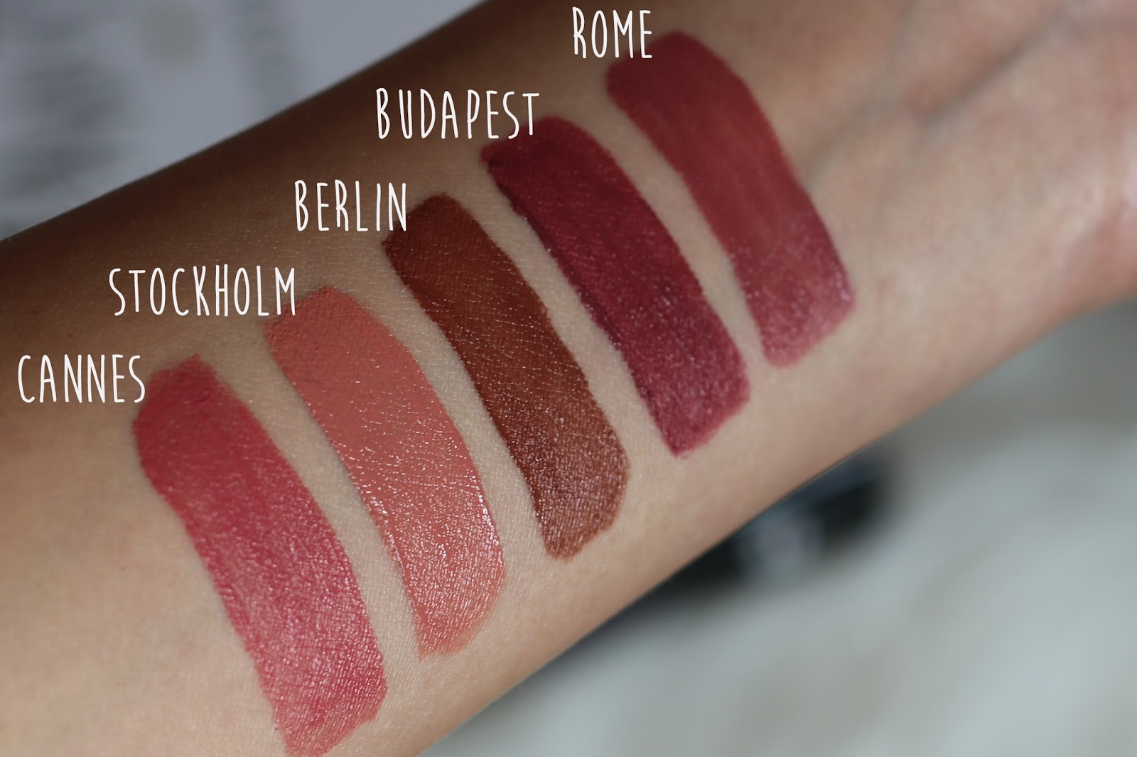 NYX Professional Makeup Soft Matte Lip Cream in Cannes, Stockholm, Berlin, Budapest and Rome swatches and review