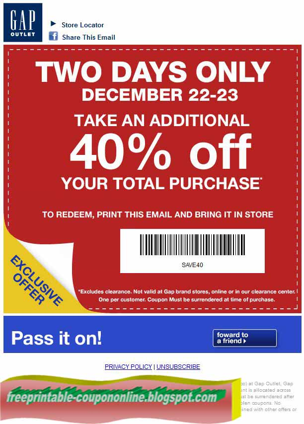 Gap online coupon code march 2018