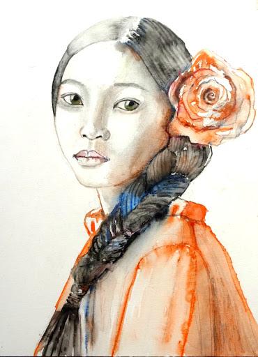 Meisje met rode bloem