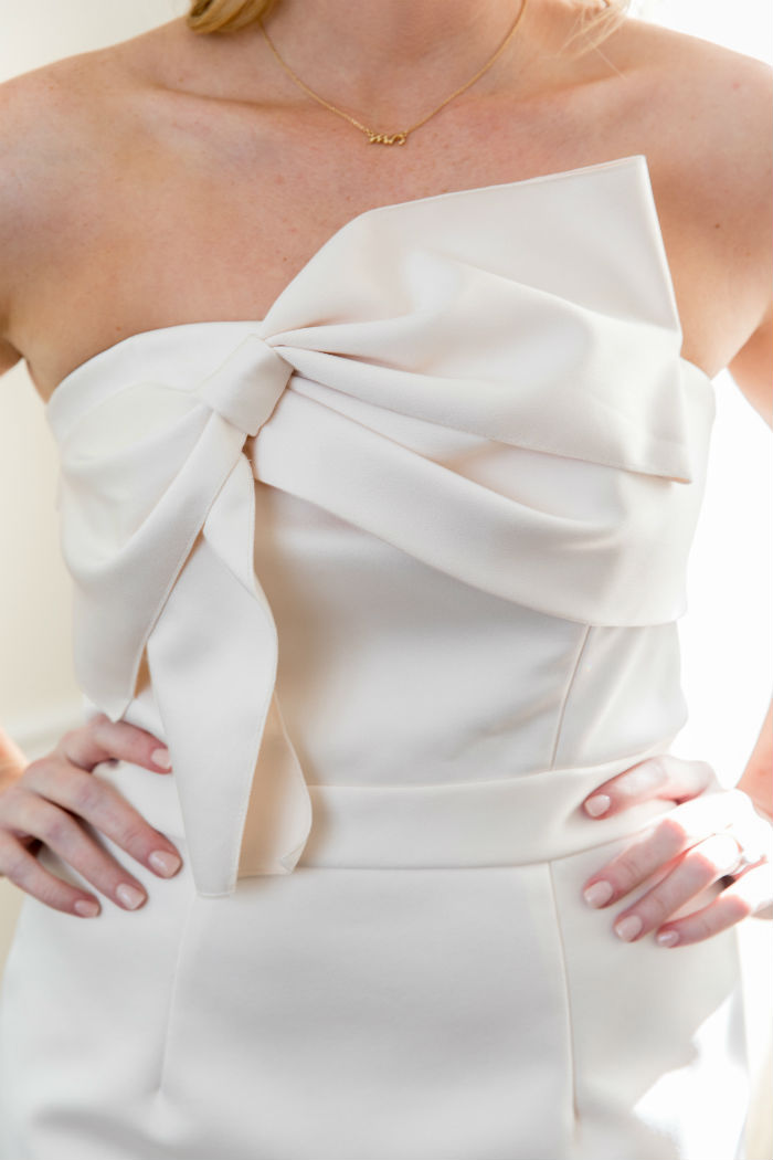 wedding reception dress, bhldn dress, bhldn drive, bow dress