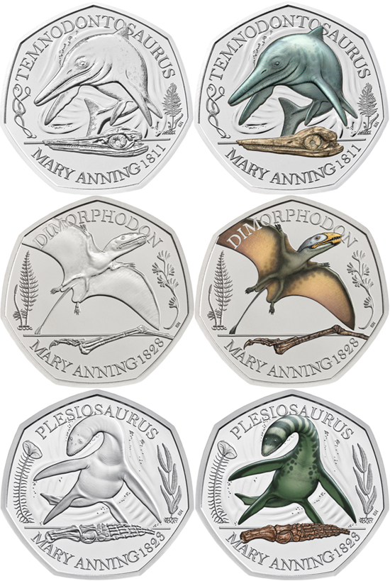 United Kingdom 50 pence 2021 - Mary Anning's fossil discoveries