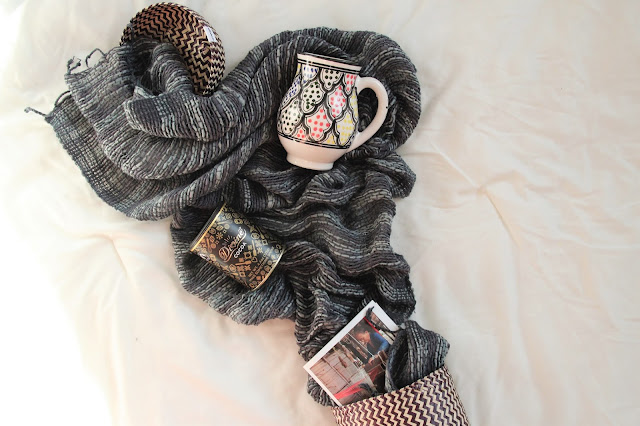 fair trade giveaway scarf, chocolate