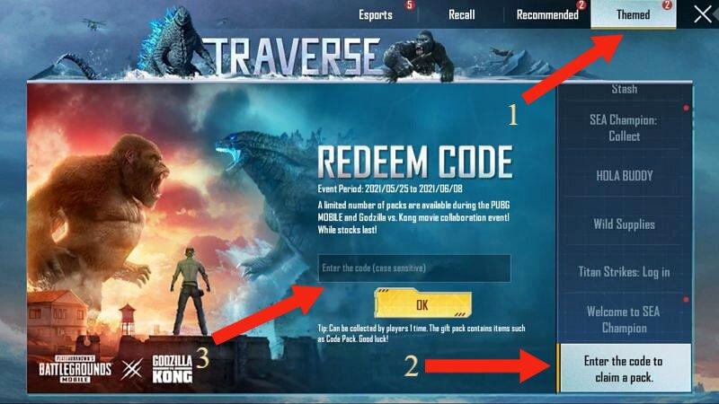 PUBG Mobile Godzilla Reward Code