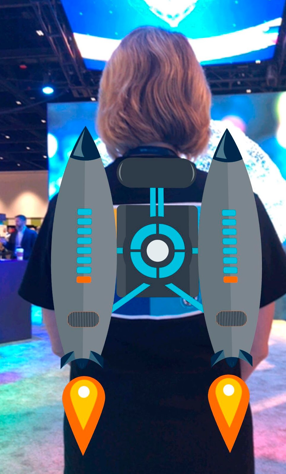 Showcasing augmented reality at Arm TechCon: Gail Hanlon's t-shirt becomes jet propelled when activated by Zappar