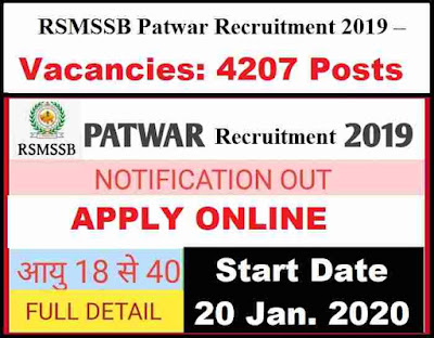 RSMSSB Patwari Recruitment 2019-20