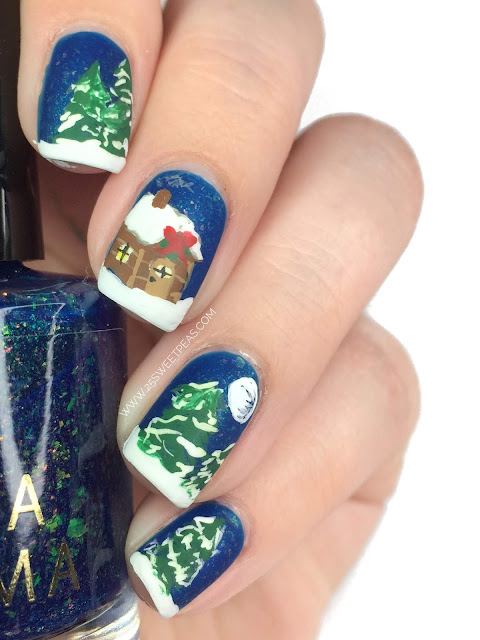 Winter Cabin Nail Art