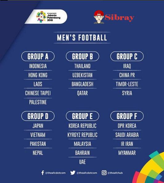 Hasil Undian Asean Games, Man's Football Grub A dan E Ketambahan  Palestina Dan Uni Emirat Arab
