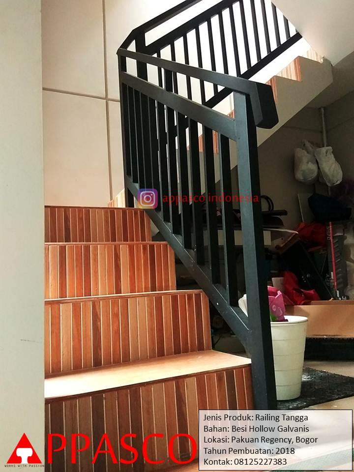 Railing Tangga Minimalis Besi Hollow dan Galvalum di Pakuan Regency Bogor