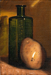 Oil painting of an antique green poison bottle beside a yellow potato.