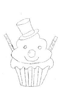 risco de cupcake boneco de neve para pintar