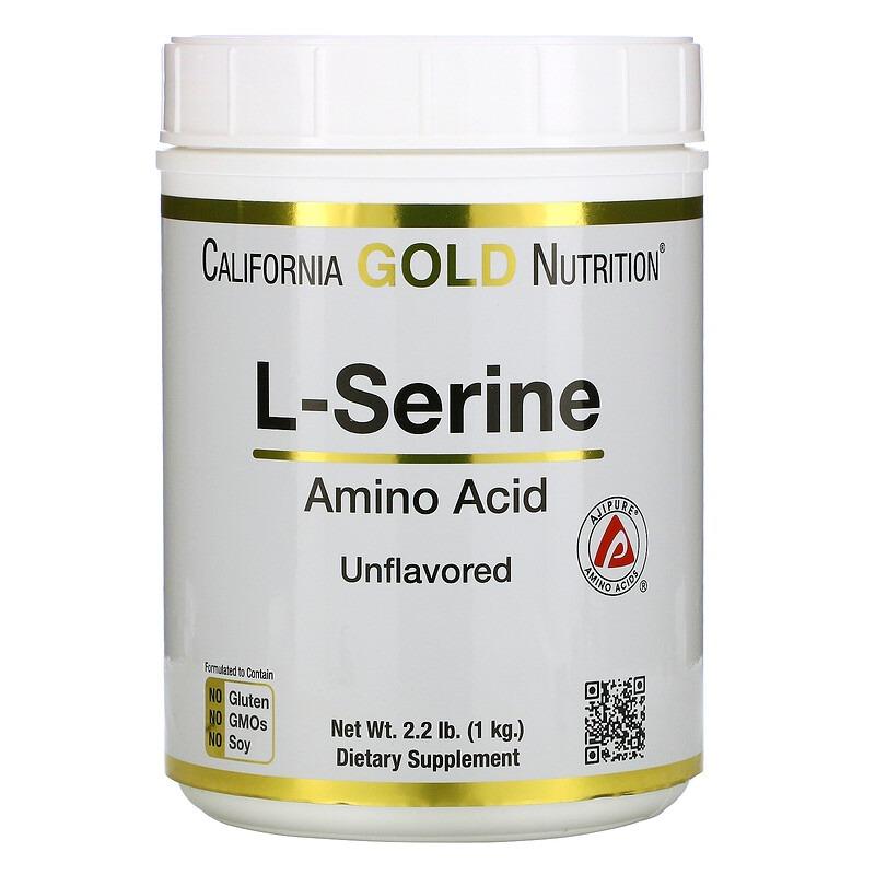 California Gold Nutrition, L-серин, AjiPure, порошок без ароматизаторов, 1 кг (2,2 фунта)