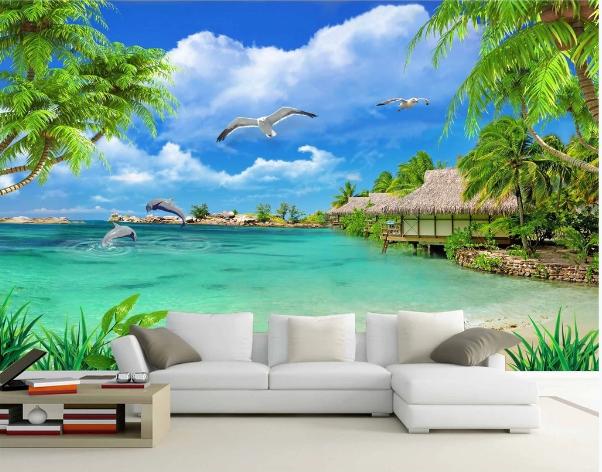 Tranh Dán Tường 3D Cảnh Biển Đẹp