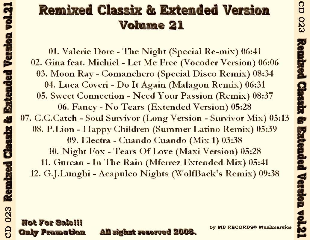 MUSIC REWIND: Remixed Classix & Extended Version Vol.21