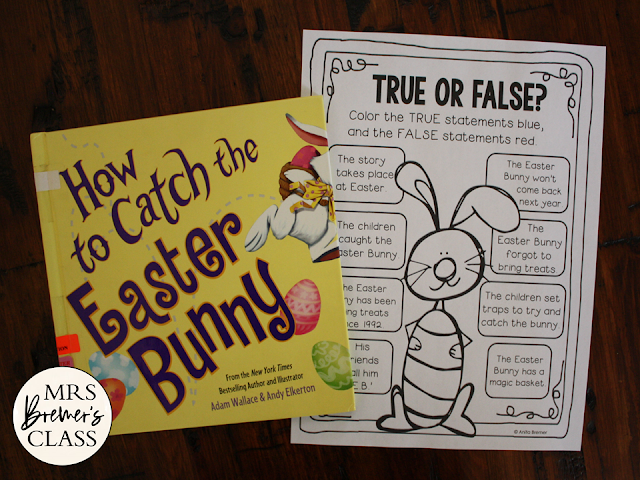 How to Catch the Easter Bunny book study activities unit with Common Core companion activities and a craftivity for Kindergarten and First Grade